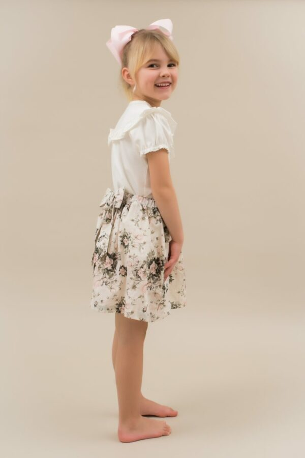 Viola 7 | SS19 Blue Magnolia Macy nederdel til piger med stor sløjfe
