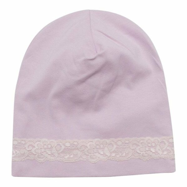 Accessories 3   BA Beanie Icy Pink hue til børn med blondekant