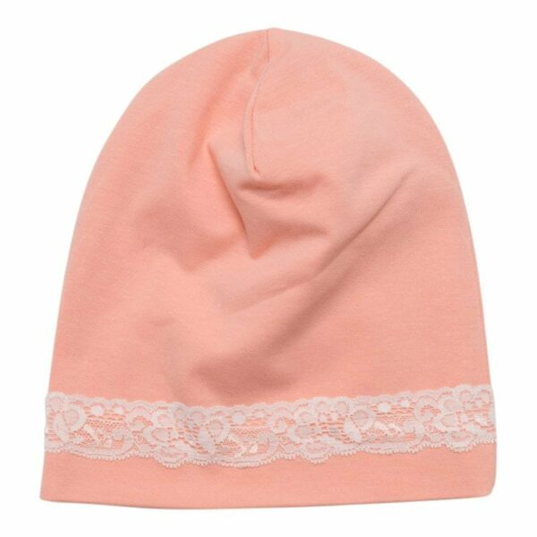 Accessories 5 | BA Beanie Peach hue til børn med blondekant