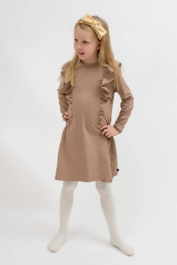Amalie 4   BA Chestnut brun glitter kjole med flæser
