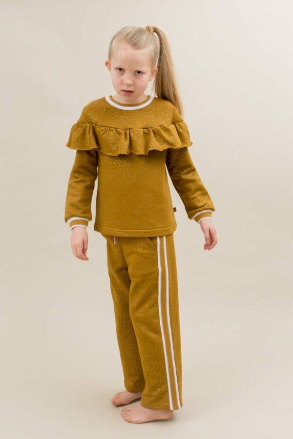 Amalie frill blouse and Amanda pants curry glitter | AW19 Amalie Bluse til piger i Karry med glitterprint