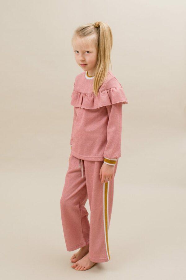 Amalie frill blouse and Amanda pants rose glitter   AW19 Amalie Bluse til piger i Rosa glitterstof