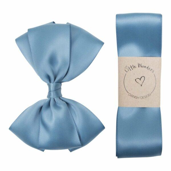 Babtism ribbon Smoke Blue 363 | Dåbs sæt til drenge i støvet blå silke