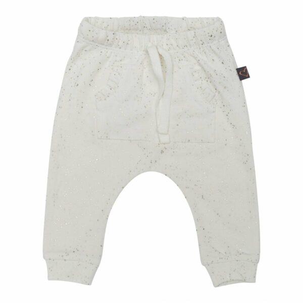 Baggypants ow 50 56 1   Off white  bukser til nyfødt med glitter og lomme