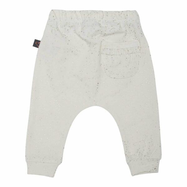 Baggypants ow 50 56 back   Off white  bukser til nyfødt med glitter og lomme