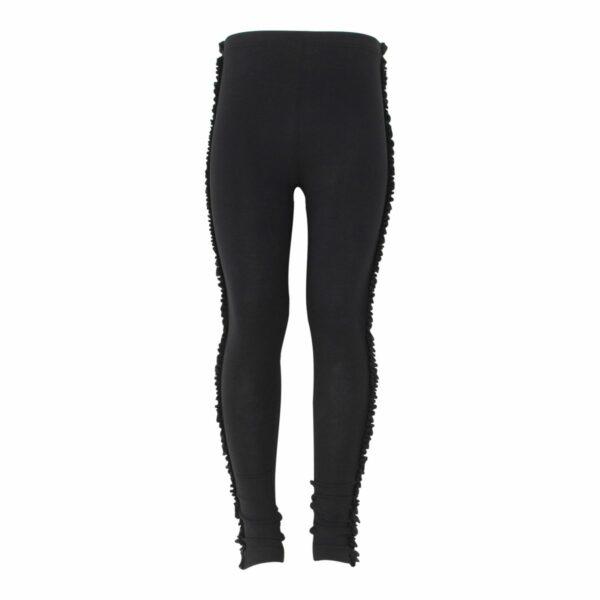 Black Girls Frill leggings   Sorte leggings med flæsekant til piger