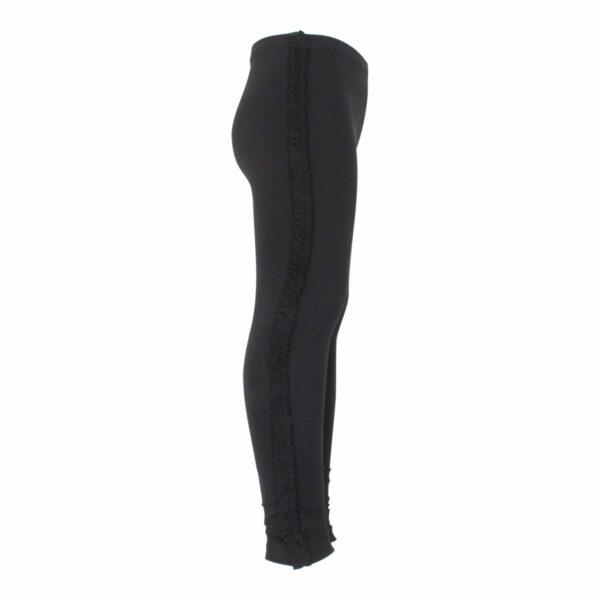 Black Girls Frill leggings site   Sorte leggings med flæsekant til piger