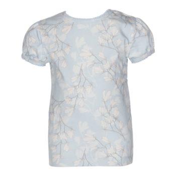 Kortærmet bluse med pufærmer til piger blue magnolia