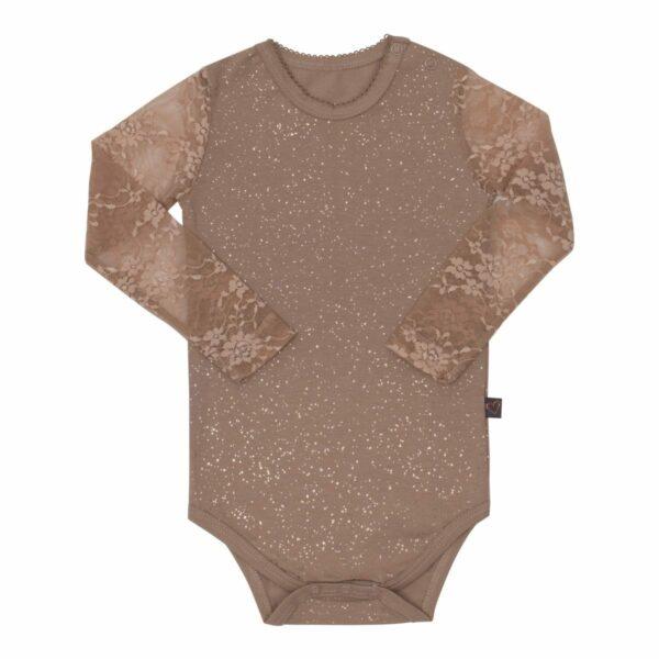 Body Chestnut glitter | Maja body med blonde ærmer i autumnal glitter