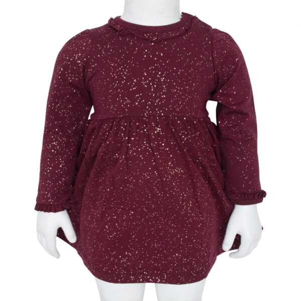 Bordeaux glitter bodydress | AW19 Bordeaux bodykjole med glimmerprint og flæsekanter