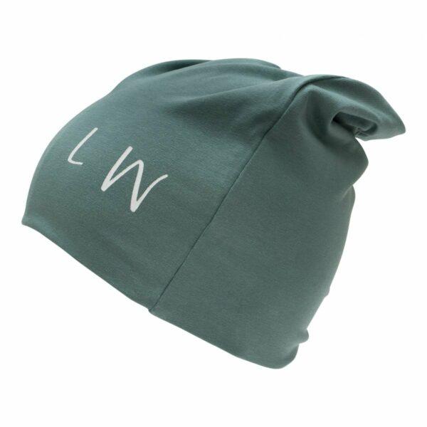 Boy beanie green | SS19 Støvet grøn beanie hue til drenge med LW logo