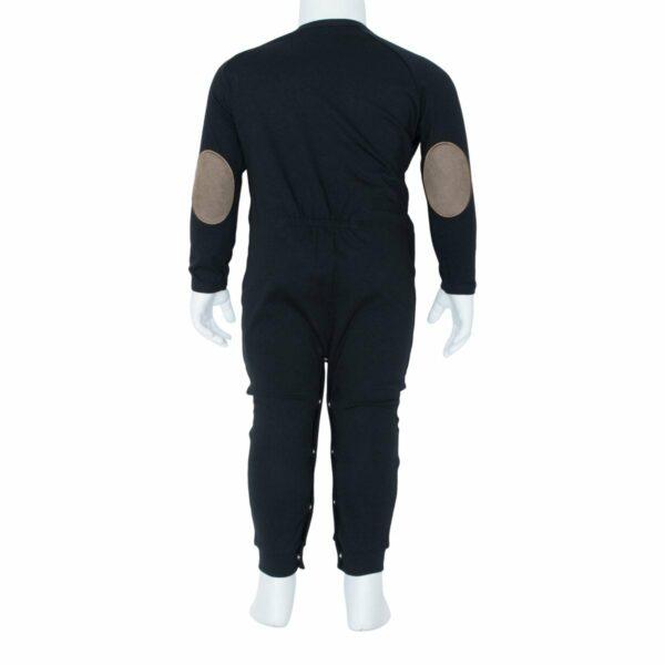 Boys bodysuit black back | BA Sort Heldragt  til drenge fra Little Wonders