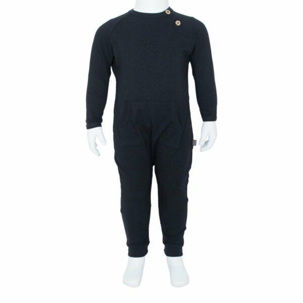 Boys bodysuit black front | BA Sort Heldragt  til drenge fra Little Wonders