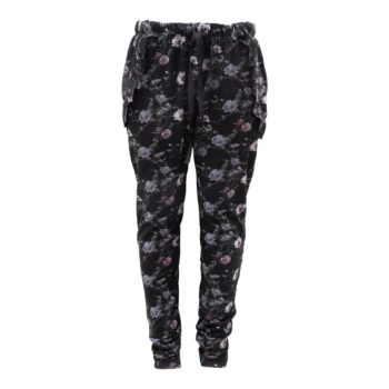 Saga Teen Baggy Pants i black flowerprint