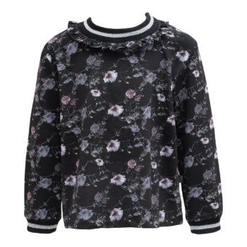 Saga Teen bluse i black flowerprint