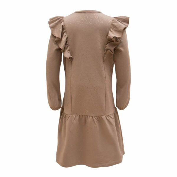Chestnut Girls Dress Back   BA Chestnut brun glitter kjole med flæser