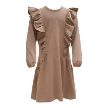 Chestnut brun glitter kjole med flæser