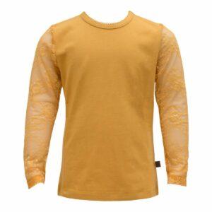 Karry gul bluse med blondeærmerr