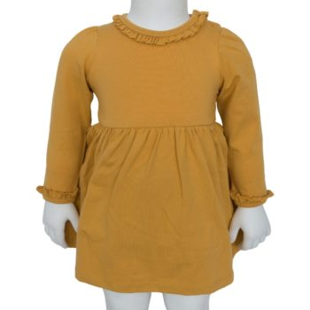 Karry gul bodykjole med flæsekanter