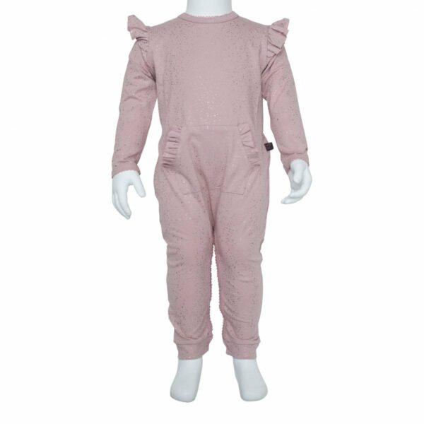 DR Bodysuit 1   Støvet rosa heldragt med glimmerprint og vinger