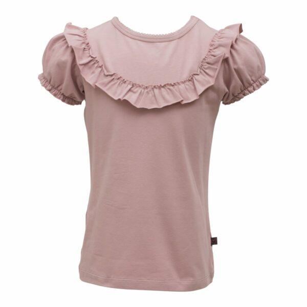 Dusty Rose frill T shirt girls | Støvet rosa kortærmet bluse med flæsekant