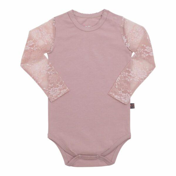 Dusty Rose lace body | Støvet rosa Maja body til baby med blondeærmer