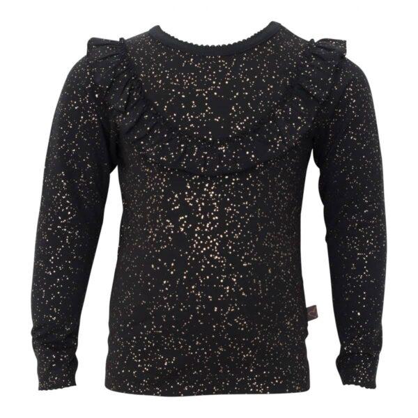 Sort flæse bluse med glimmerprint