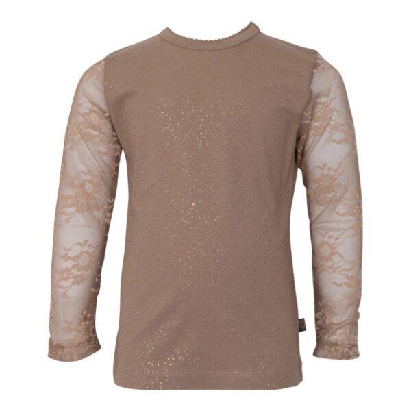 Girls Bloues lace sleves Chestnut 2 | Chestsnut brun Maja bluse med blondeærmer og glimmer