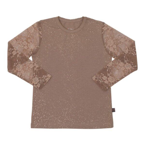 Girls Bloues lace sleves Chestnut | Chestsnut brun Maja bluse med blondeærmer og glimmer