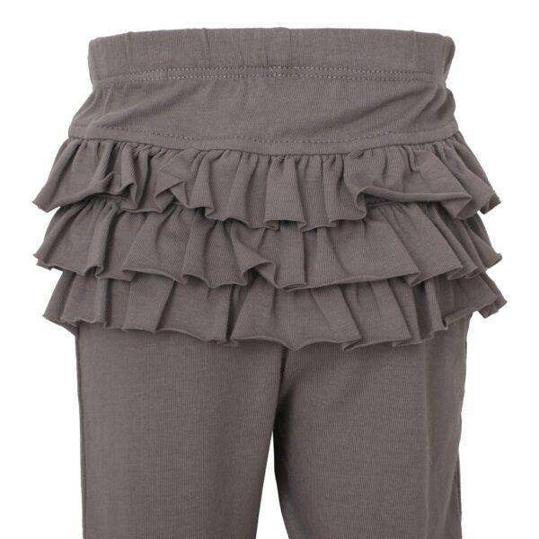 Grey 9 | Koksgrå leggings til baby med flæsenumse