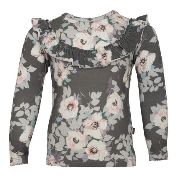 Grey flower frill blouse | SS18 Grey Flower Langærmet flæsebluse
