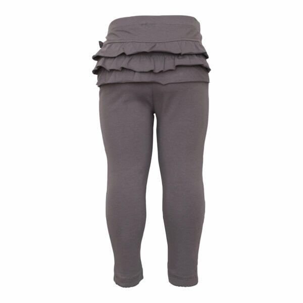 Grey frill leggings back | Koksgrå leggings til baby med flæsenumse