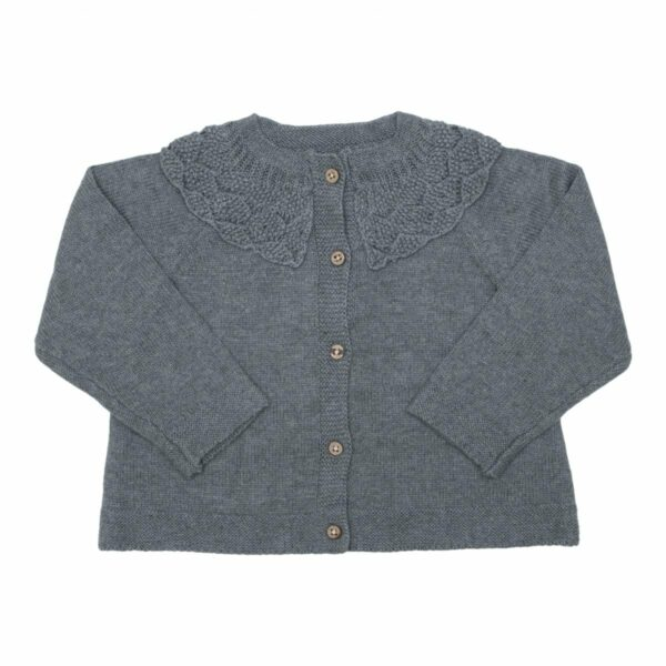 Grey knit | AW19 Koksgrå strik cardigan med fin krave fra Little Wonders
