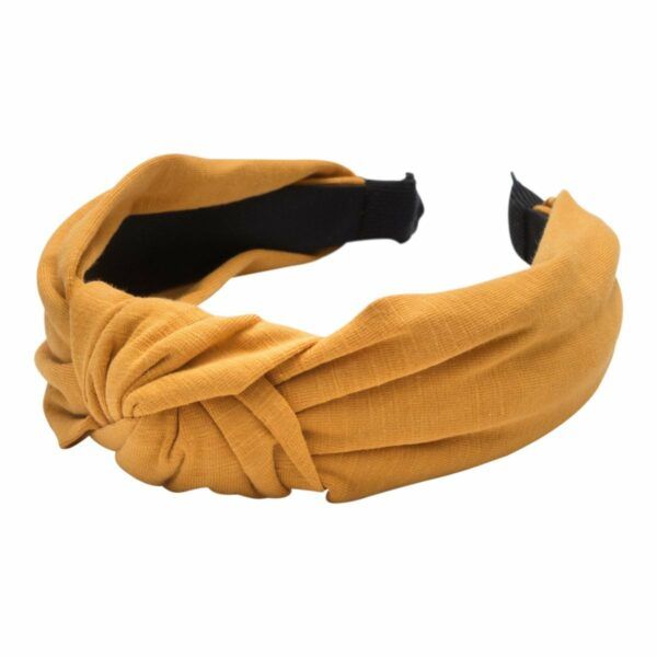 Headband Curry Jersey   Hårbøjle med jersey stof i karry fra Little Wonders