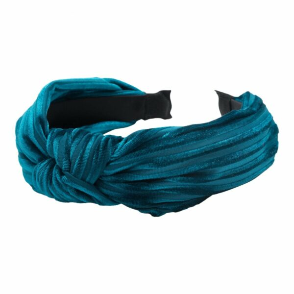 Headband Methyl Blue velvet | Hårbøjle med fløjl i petrol blå fra Little Wonders