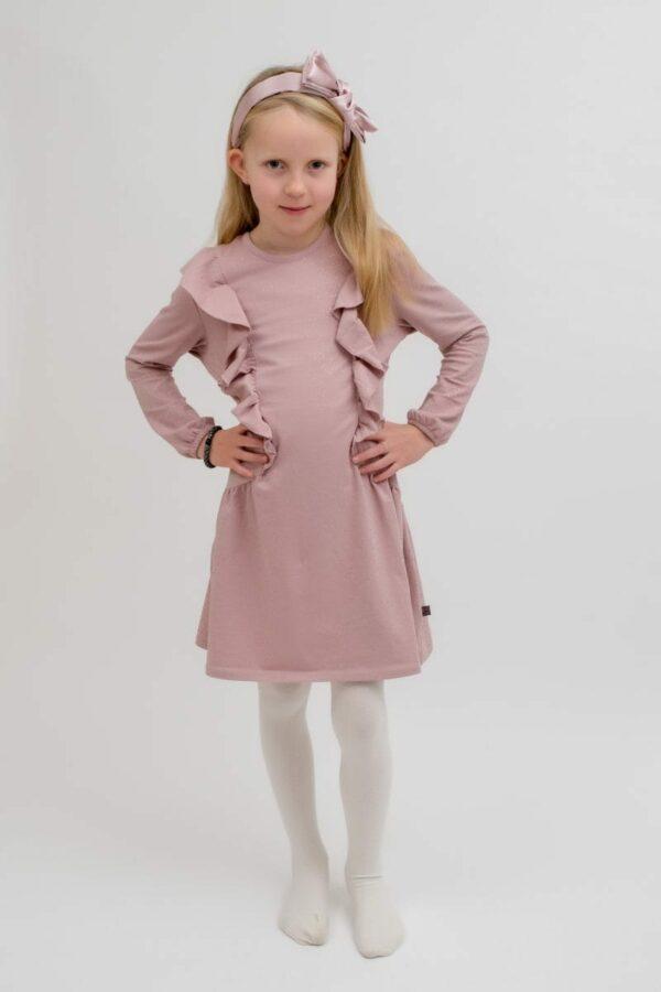 Malle rosa kjole | Hårbøjle navy blåt glitter stof med stor sløjfe
