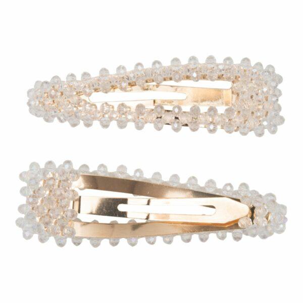 Maya Clear Glitter   Hårspænde Maya med klare glitter perler - Gold - 9 cm.