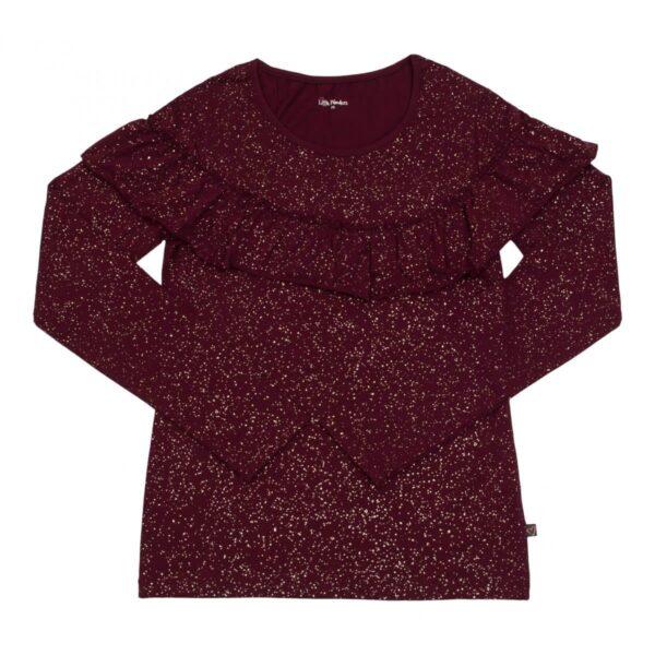 Mom blouse bordoux glitter   BA Langærmet MOR flæsebluse med Bordeaux glitterprint