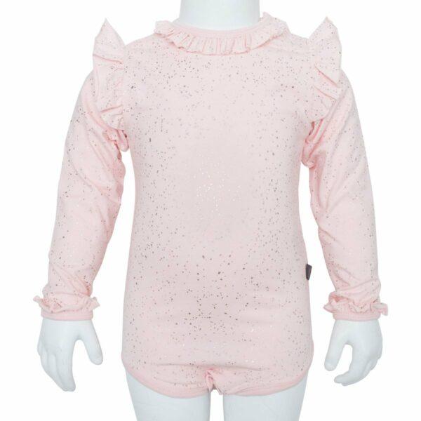 Nude Glitter body | Nude glimmerbody til piger med vinger og flæsekanter
