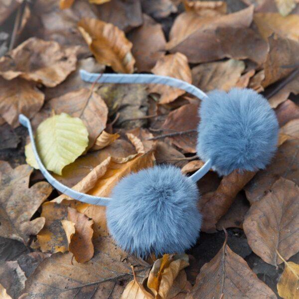 Pompom headband GR | Nora - Hårbøjle med faux fur pompom rosa