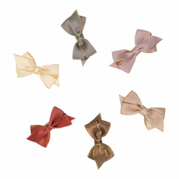 Viola Gold edge silk   VIOLA - Lille smuk 6 cm. satin sløjfe med guld kant