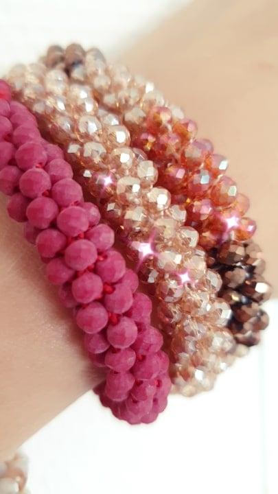 72065391 2507842612667331 2978017073348739072 n | Bordeaux Rødt LW glitter perle armbånd