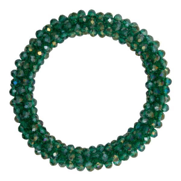 CR1 7541 1   Flaskegrønt LW glitter perle armbånd
