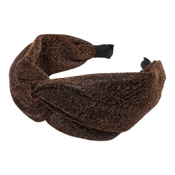 CR1 7615   Bred kobber glitter hårbøjle med blød bøjle
