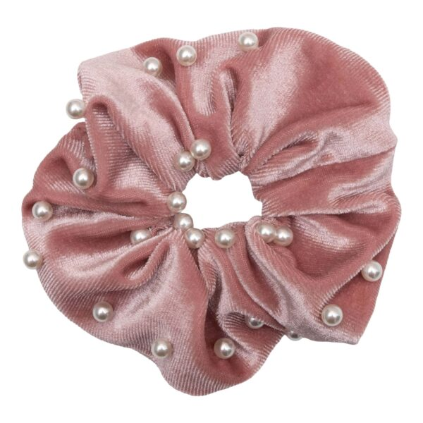 CR1 7626 1 | Velour Rosa Scrunchie med perler