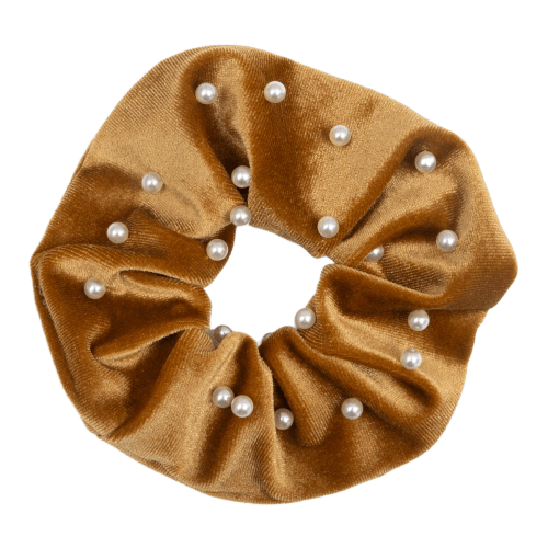 CR1 7839 Edit removebg preview 3 | Scrunchie Velour karry farvet  med perler