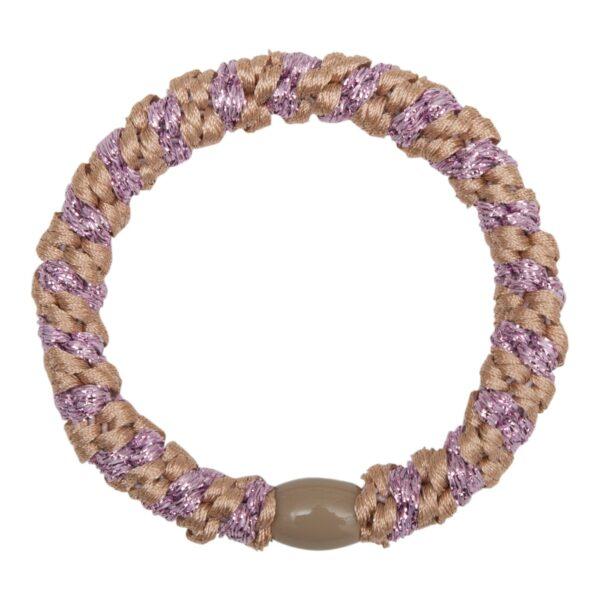 Elastic | Rosa kraftig LW hårelastik med lilla glitter stribe