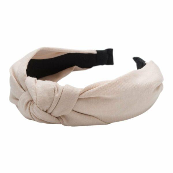 Headband Beige Jersey   Bred Hårbøjle med jersey stof i beige
