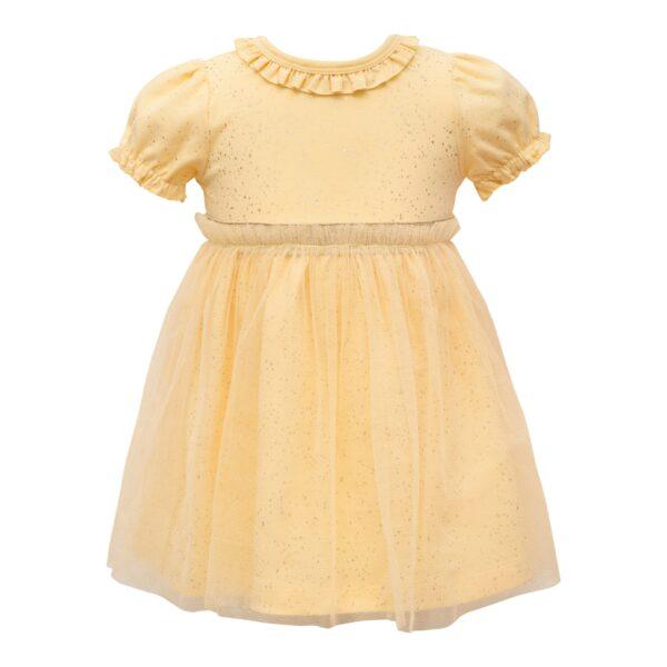 Gul Bridgit kortærmet kjole med tyl
