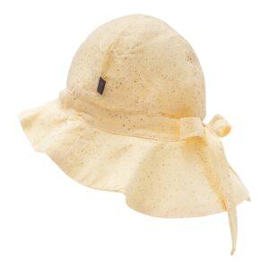 Gul Sommerhat med glitter print og sløjfe